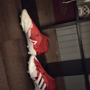 Adidas ace soccer cleat red and white